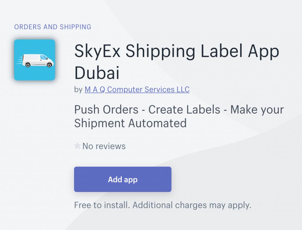 SkyEx Shipping Label App Dubai